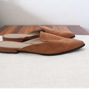 Ann Taylor Factory Brown Suede Like Pointed Flats